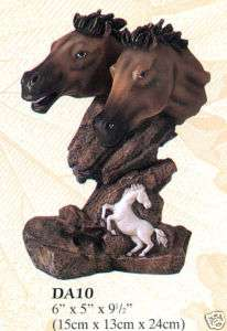 New Sculpted 2 Brown Horses Head Bust Engraved Horse