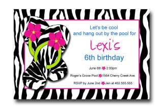 Custom Flip Flop Zebra Print Hot Pink Birthday Party Invitations