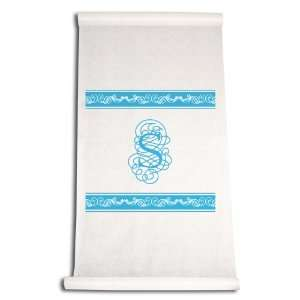 Aisle Runner, Fancy Font Letter S, White with Blue: Home & Kitchen