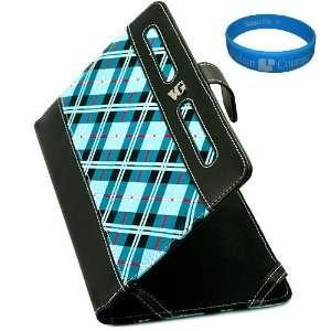 Blue Plaid Executive Leather Folio Case Cover for Viewsonic V7X