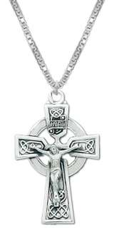 New 0.925 Sterling Silver Irish Celtic Cross Pendent Necklace