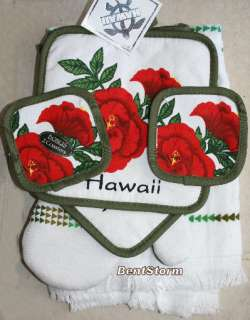 6PC HAWAIIAN HAWAII Kitchen Towel Oven Mitt & Coasters