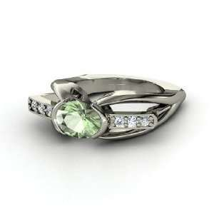 Bridge Ring, Oval Green Amethyst 14K White Gold Ring with