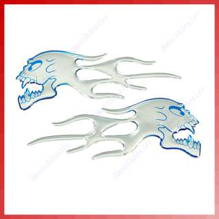 2x Skull Flames Motorcycle Car Auto Stickers Badge Blue