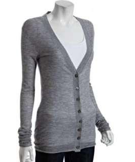 Enza Costa heather grey cashmere cardigan sweater
