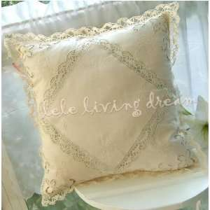 Hand Embroidered/bobbin lace cushion cover Patio, Lawn & Garden