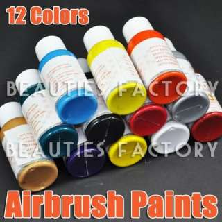 12 COLOR PRO AIRBRUSH PAINTS Nail Art Ink #109