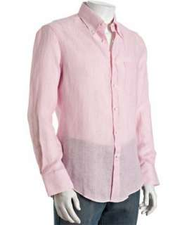 Brunello Cucinelli pink striped linen button down shirt   up