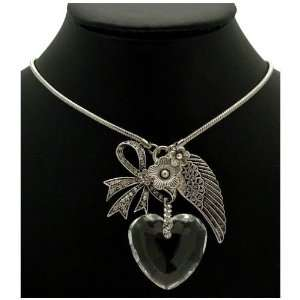 Bow, Wing & Flower Charm   Clear Crystal Glass Heart Necklace: Jewelry