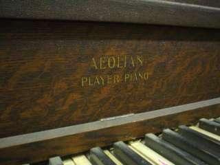 Antique Aeolian Upright Player Piano, Tiger Oak