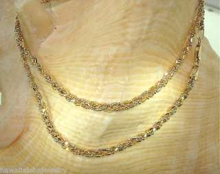 3mm Italian 14k Tri Color Gold Diamond Cut 1+1 Triple Braided Necklace