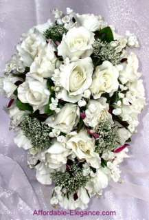 Cream White ROSES Wedding BOUQUETS Silk Flowers 15p SET