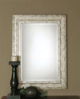 French Chic Solid Wood Shabby Silver Beveled Wall Mirror