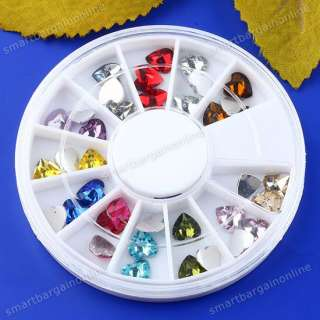 36pc Mix 3D Acrylic Rhinestone Heart Glitter Stickers Fit Nails Art