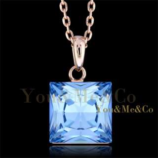 18k Rose Gold EP 6ct Princess Cut Aquamarine Crystal Pendant Necklace
