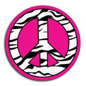 Zebra stripe Peace Sign Decal for helmets NEW