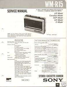 Original Sony Service Manual WM R15 Cassette recorder