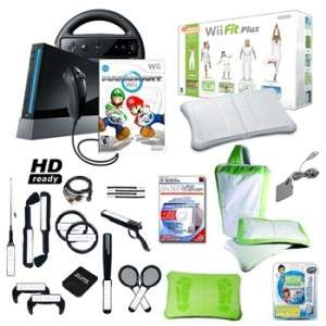 Nintendo Wii Black Mario Kart Ultimate Holiday Bundle with Wii Fit