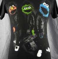 Elmo Oscar The Grouch Cookie Monster As Run DMC Shirt Small Black