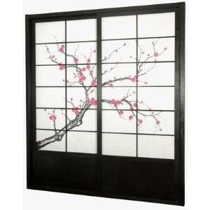 Oriental Furniture DOOR CBLSS Black Cherry Blossom Shoji Sliding Door