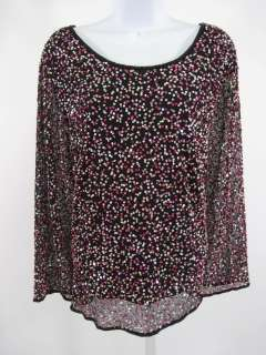 JACQUES VERT Black Pink Sequin Long Sleeve Shirt Sz 22
