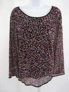 JACQUES VERT Black Pink Sequin Long Sleeve Shirt Sz 22