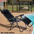 Zero Gravity Chairs Case Of (2) Black Lounge Patio Chairs Outdoor Yard