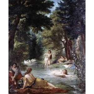 Turkish Women Bathing by Eugene Delacroix. Size 8.25 X 10